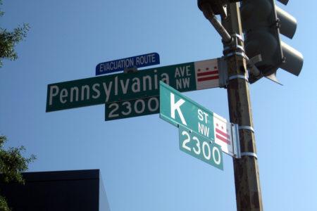 K Street, the address of many lobbying firms, in Washington, DC.