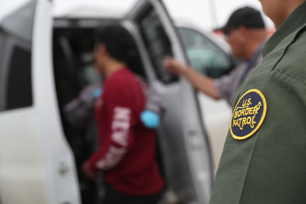 ROMA, TX - MARCH 13:  U.S. border agents detain an undocumented immigrant caught near the U.S.-Mexico border on March 13, 2017 in Roma, Texas. The Border Patrol has reported that illegal crossings from Mexico have dropped some 40 percent along the southwest border since Donald Trump took office.