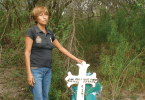 Ernestina Santillan stands on the Mexican side of the Rio Grande, where her son, Juan Pablo, was shot and killed by U.S. Border Patrol agents last July.