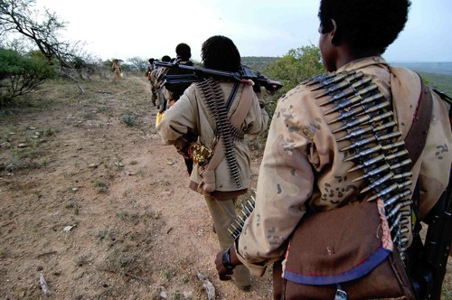 A full ONLF rebel unit moving between locations.   Credit: COURTESY JONATHAN ALPEYRIE