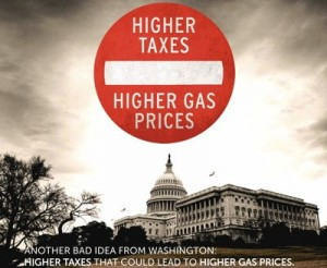 """An API print ad says that """"higher taxes won't lower gas prices. Call your Senators at 202-224-3121 and tell them to vote against higher taxes.""""   Credit: American Petroleum Institute"""
