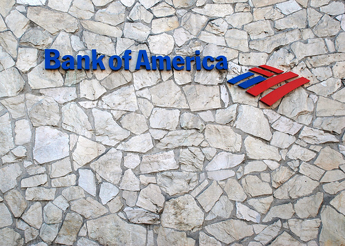 Bank of America sign in Columbia City, Seattle. | Credit: JAMES CALLAN