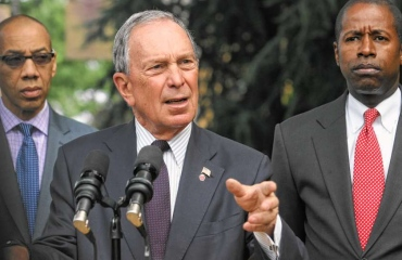 New York City Mayor Michael Bloomberg at a press conference in Queens