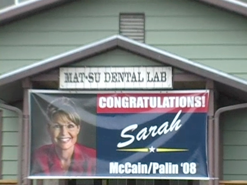 An image from a video report from the church where Palin was baptized. | Credit: MAX BLUMENTHAL