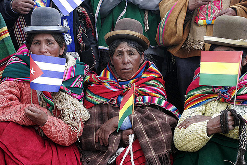 Indigenous Bolivians rally in support of Evo Morales, the country's new president, January 21, 2006. | Credit: COURTESY OLMO CALVO