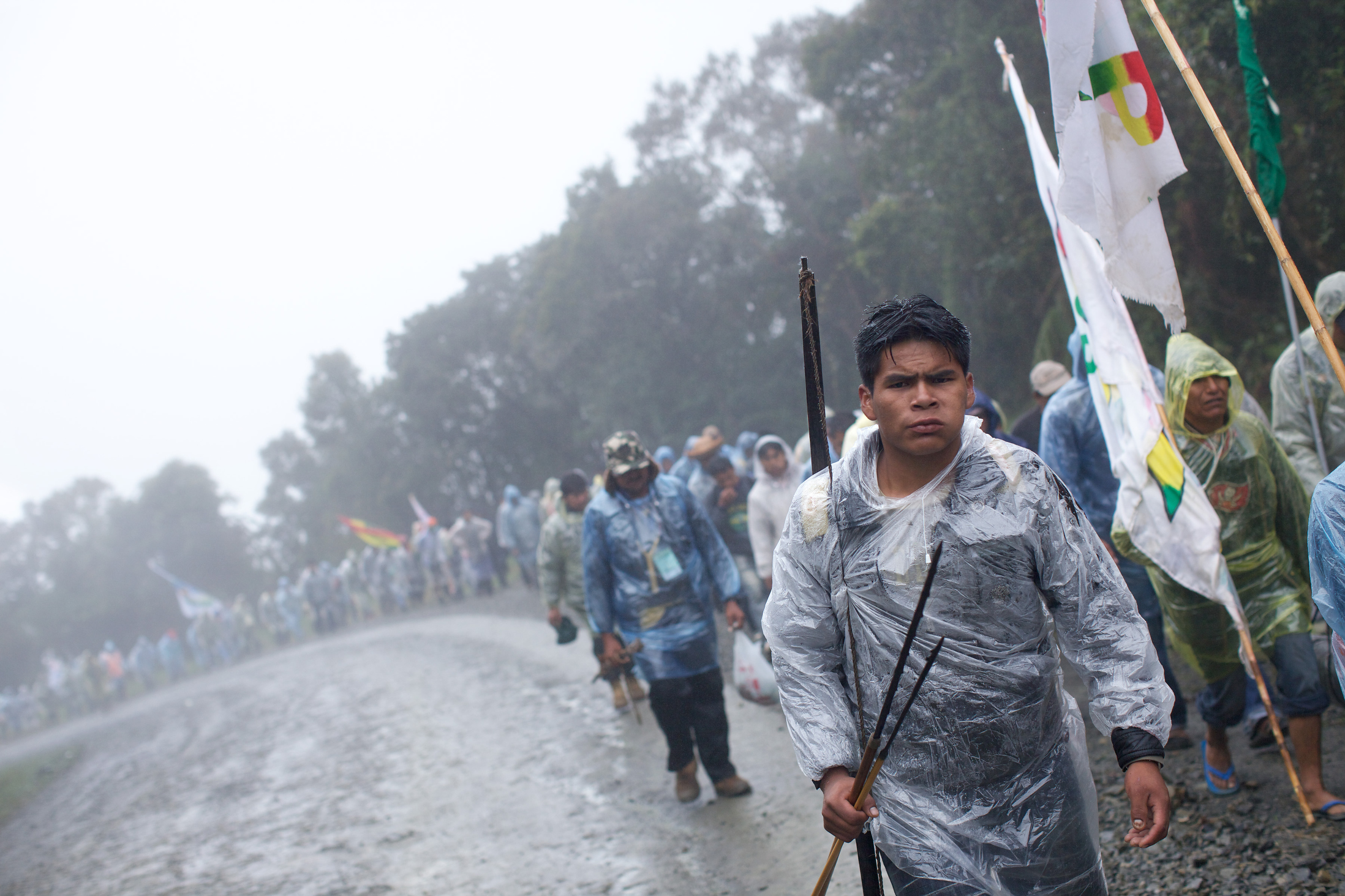 Indigenous groups endured rough weather and camped in the Yungas valley during their protest march earlier this spring from their jungle communities to the capital of Bolivia, La Paz. But the struggle initially appea... | Credit: NOAH FRIEDMAN-RUDOVSKY