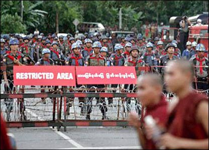 Picture taken by someone inside Burma, emailed to BBC News, during the 2007 Burmese uprising.