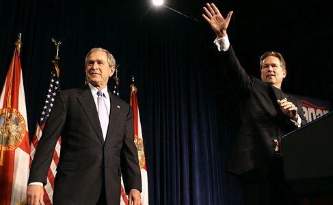 President Bush and a Congressional candidate, Vern Buchanan in Sarasota, Florida.   Credit: GERALD HERBERT/AP