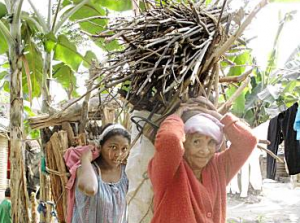 Nepalese refugees from Bhutan carry wood in the Beldangi I refugee camp in eastern Nepal.   Credit: DON DUNCAN