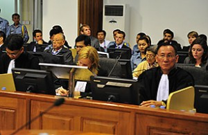 Former Khmer Rouge leaders on trial at the Extraordinary Chambers in the Courts of Cambodia on the outskirts of Phnom Penh June 27, 2011.   Credit: MARK PETERS / ECCC / REUTERS