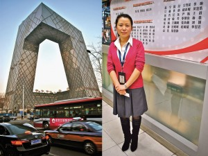 On the left: The Chinese have nicknamed CCTV's new 54-story headquarters da kucha, or 'big boxer shorts.' On the right: Liu Ge, A Communist Party member and chief editor of CCTV, ad...   Credit: PHOTO COURTESY OF SAMBUDDHA MITRA MUSTAFI
