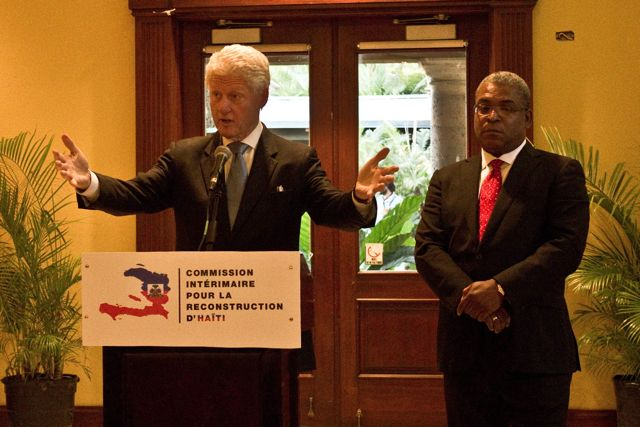 Former President Bill Clinton and former Haitian Prime Minister Jean-Maz Bellerive at an Interim Haiti Recovery Commission February 23, 2011, Port-au-Prince, Haiti | Credit: ISABEAU DOUCET