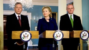 Secretary of State Hillary Clinton meets with Northern Ireland First Minister Peter Robinson and Deputy First Minister Martin McGuinness March 17, 2009