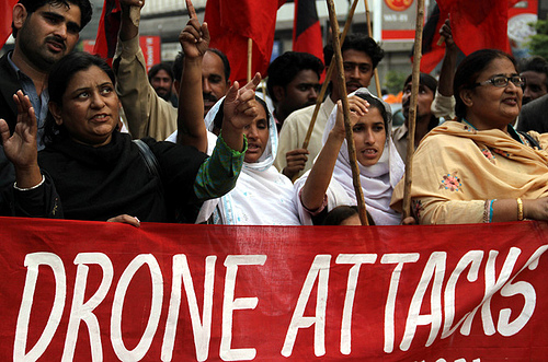 Pakistanis protest US drone strikes in Karachi, January 2010. | Credit: PAN-AFRICAN NEWS WIRE