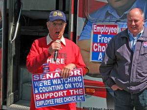 AFL-CIO rally with Pennsylvania Secretary-Treasurer Richard Bloomingdale and Sam Bianco.   Credit: FRANK SNYDER