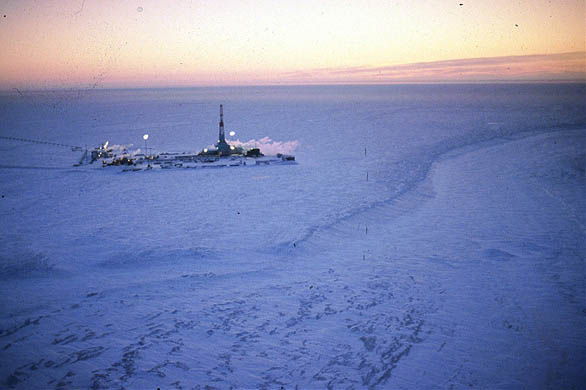 An oil exploration rig off near the Arctic National Wildlife Refuge | Credit: ANWR.ORG