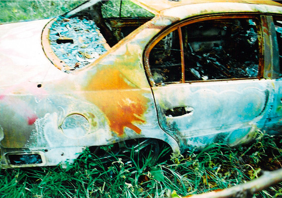 The charred remains of William Tanner's car, which was incinerated along with Henry Glover's body