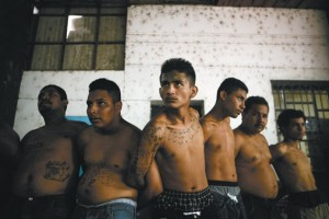 Suspected gang members being held by the police, San Salvador, August 2005. | Credit: COURTESY RON HAVIV/VII