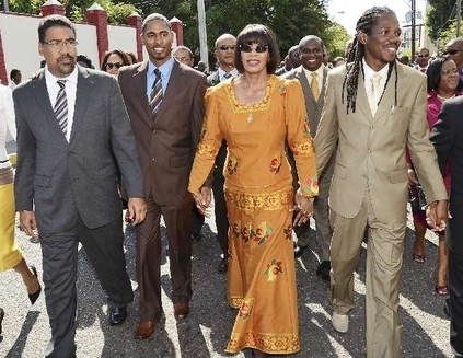 Portia Simpson-Miller, center, the first political leader in Jamaica to express support for gay and lesbian rights. | Credit: DESMOND McKENZIE/WIKIMEDIA COMMONS