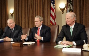 U.S. President George W. Bush addresses the press during a meeting with the Iraq Study Group in the Cabinet Room Wednesday, Dec. 6. 2006. Pictured with the President are the group's co-chairmen former Representa...
