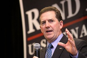 United States Senator Jim DeMint at a rally for United States Senate candidate Rand Paul in Erlanger, Kentucky, in October 2010.   Credit: COURTESY GAGE SKIDMORE