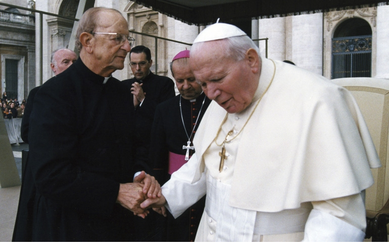 Fr. Marcial Maciel Degollado greets Pope John Paul II in St. Peter's Square in this 2000 file photo | Credit: CNS