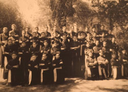 Fr. Marcial Maciel Degollado, wearing glasses at center left, is pictured with young Legion of Christ students in this photo believed to be taken in Mexico in the mid-1940 | Credit: CNS