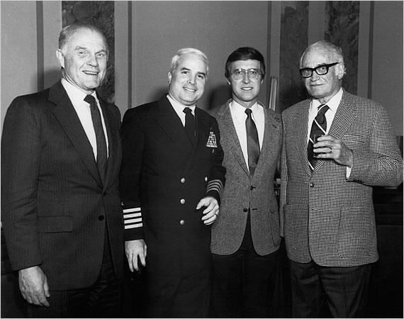 John McCain with, from left, Senator John Glenn, Senator William S. Cohen and Senator Barry Goldwater circa 1980.   Credit: NEW YORK TIMES
