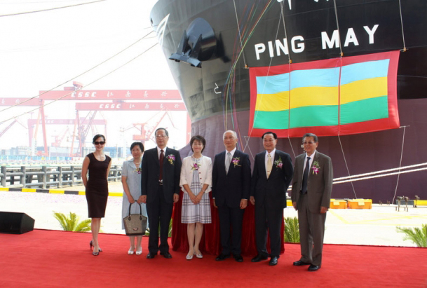 Mitch McConnell's father-in-law, James Chao (second from right), at the christening of the Ping May in Shanghai. | Credit: SHANGHAI MULAN EDUCATION FOUNDATION