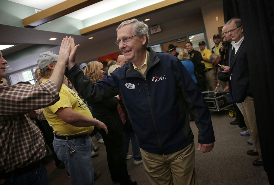 Mitch McConnell campaigns In Kentucky ahead of the midterm election, October 22, 2014.
