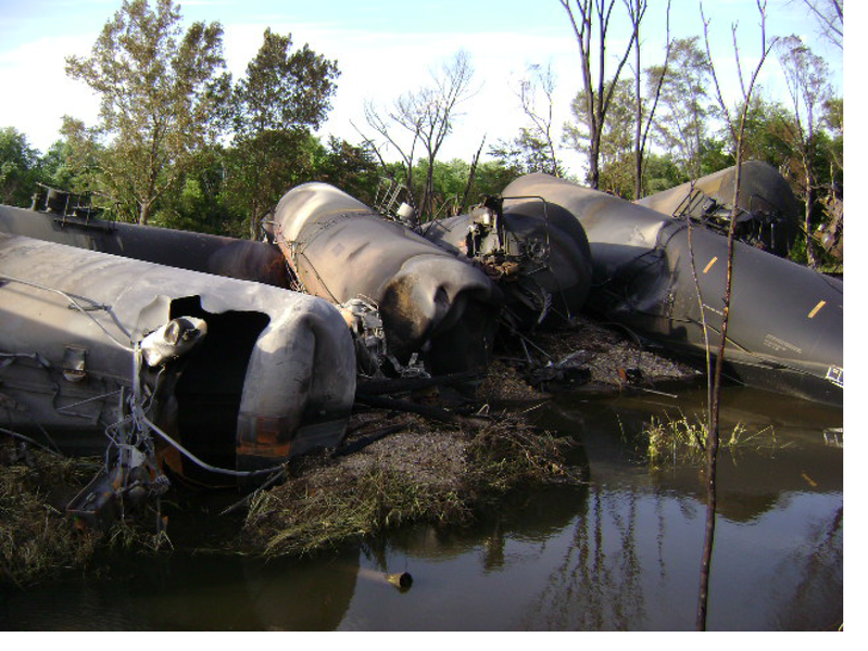 The Mulford Road grade crossing in Cherry Valley, Illinois shows piled tank cars after an accident, June 2009. | Credit: NTSB/WIKIMEDIA COMMONS