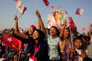 Supporters waiting to hear Aung San Suu Kyi speak at a campaign rally near Naypitaw, Myanmar, on March 6. | Credit: COURTESY ADAM DEAN / THE NEW YORK TIMES