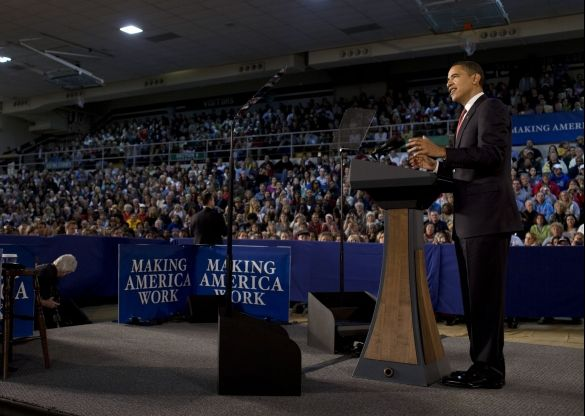President Obama addresses an Indiana town hall meeting on the economic recovery, February 9, 2009 | Credit: PETE SOUZA/THE WHITE HOUSE