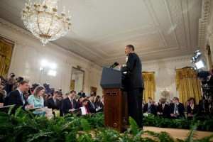 President Barack Obama speaks at a press conference on the H1N1 flu virus in the East Room of the White House, April 2009   Credit: PETE SOUZA