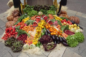 A display of organic fruits and vegetables