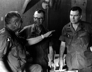 Ninth Division commander Maj. Gen. Julian Ewell (center) and his deputy, Col. Ira Hunt (right).   Credit: US ARMY