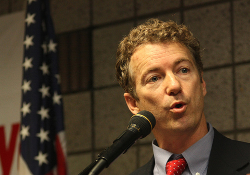 United States Senate candidate Rand Paul at a Tea Party in Elizabethtown, Kentucky.   Credit: COURTESY GAGE SKIDMORE