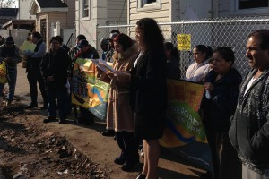 Undocumented immigrants in Staten Island protest a lack of assistance in the wake of superstorm Sandy. Second from right, holding the sign, is Maria Raquel.   Credit: COURTESY MAKE THE ROAD NY/CITY LIMITS