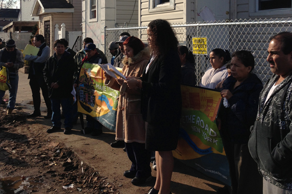 Undocumented immigrants in Staten Island protest a lack of assistance in the wake of superstorm Sandy. Second from right, holding the sign, is Maria Raquel. | Credit: COURTESY MAKE THE ROAD NY/CITY LIMITS