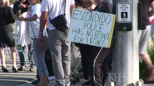 "A still from the KPBS broadcast, ""Escondido Police Under Fire,"" by John Carlos Frey"