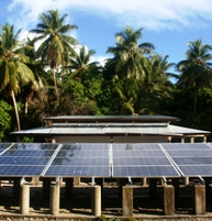 The Fadrai solar array has 216 panels, capable of providing power for the islands' 30 families, a school and the dispensary. | Credit: JUSTIN NOBEL