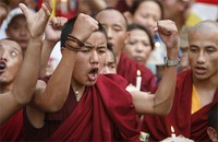 Tibetan refugees protest in Nepal | Credit: STUFF