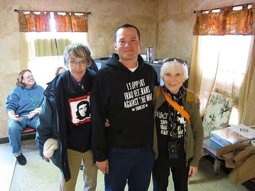 Victor Agosto and two supporters near Ft. Hood, Texas.