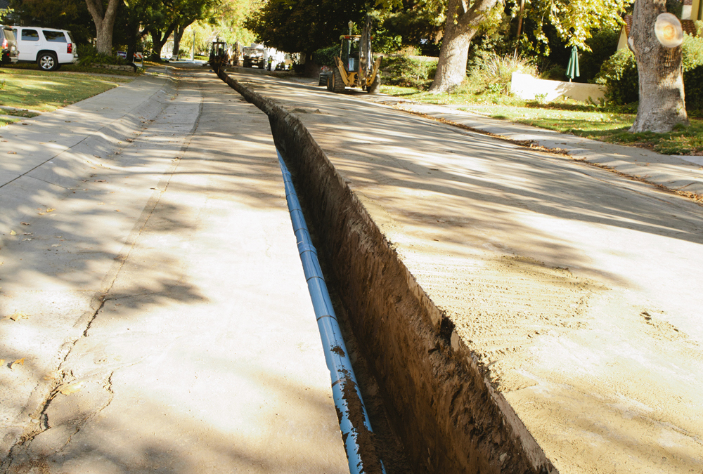 A trench cut in Land Park, Sacramento.