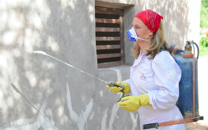 Mateo Pilar covers a house with Inesfly, her newly formulated insecticide paint, in Urundaiti, Bolivia, in 2012. | Credit: INESFLY/AL JAZEERA AMERICA