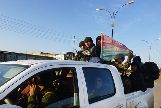 Sinjar resistance unit fighters in Sinune heading to the front lines. | Credit: JAMES HARKIN/VANITY FAIR
