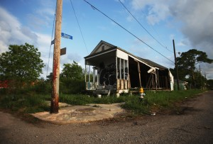 A home which was flooded during Hurricane Katrina remains abandoned in the Lower Ninth Ward on May 16, 2015, in New Orleans.