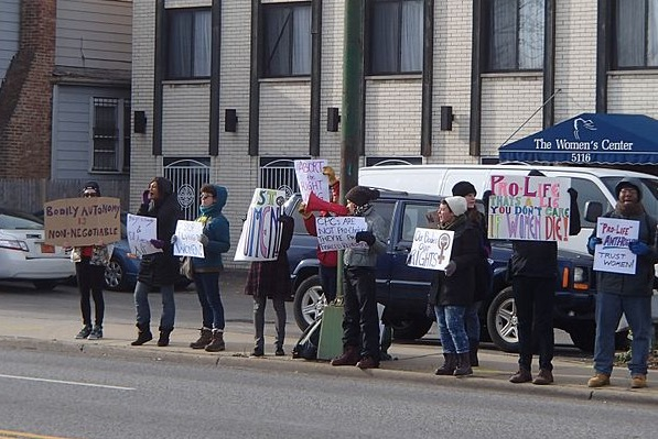 A protest outside of a crisis pregnancy center in Chicago, November 15, 2014.