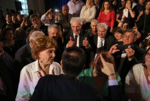 Norman Braman gives the thumbs up to Senator Marco Rubio after he announced his candidacy for the Republican presidential nomination in Miami, April 13, 2015.