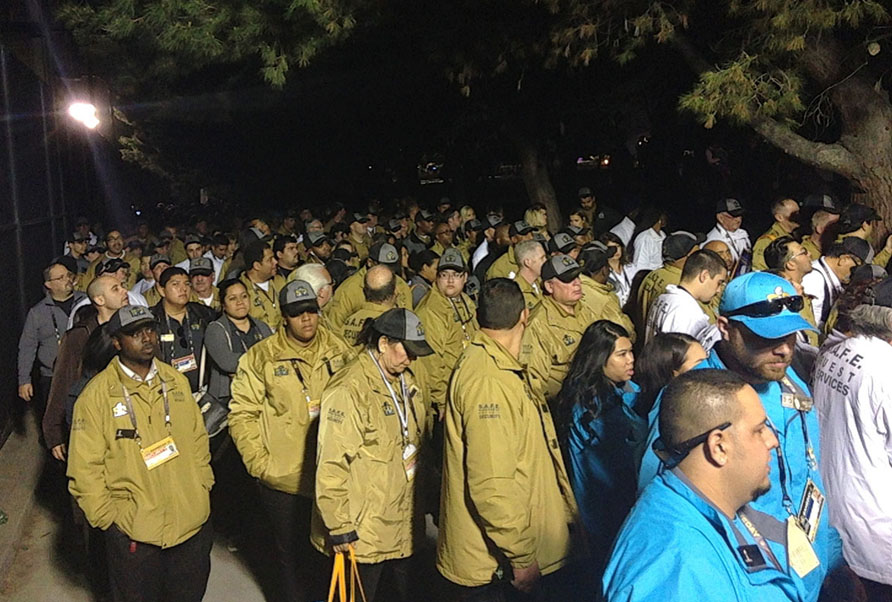 Workers trying to leave Levi's Stadium after Super Bowl 50.